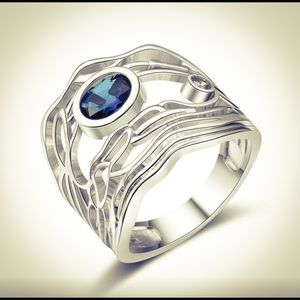 STAMPED 925 Sterling Silver Blue Sapphire Ring